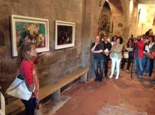 Bianyal 2014 - Clara Oliveras explicant les seves obres (Santa Margarida de Bianya)