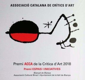 Fragment del guardó del Premi ACCA de la Crítica d'Art 2018