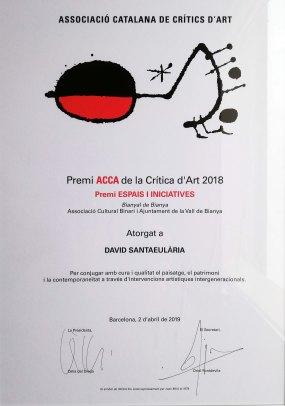 Guardó del Premi ACCA de la Crítica d'Art 2018