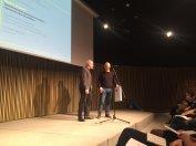 Quim Domene i David Santaeulària recollint el Premi ACCA 2018